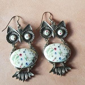 Cute brass with ceramic owl earrings